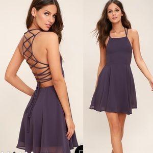 Lulu's Good Deeds dusty purple strappy back dress